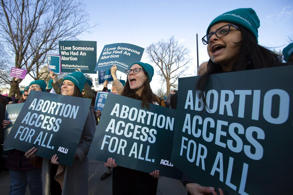 Abortion rights demonstrators rally outside of the U.S. Supreme Court in Washington Wednesday