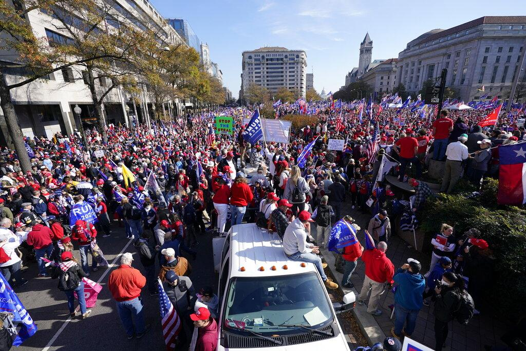 Supporters of President Donald Trump rally at Freedom Plaza on Saturday, Nov. 14, 2020, in Washington. (AP Photo / Julio Cortez)