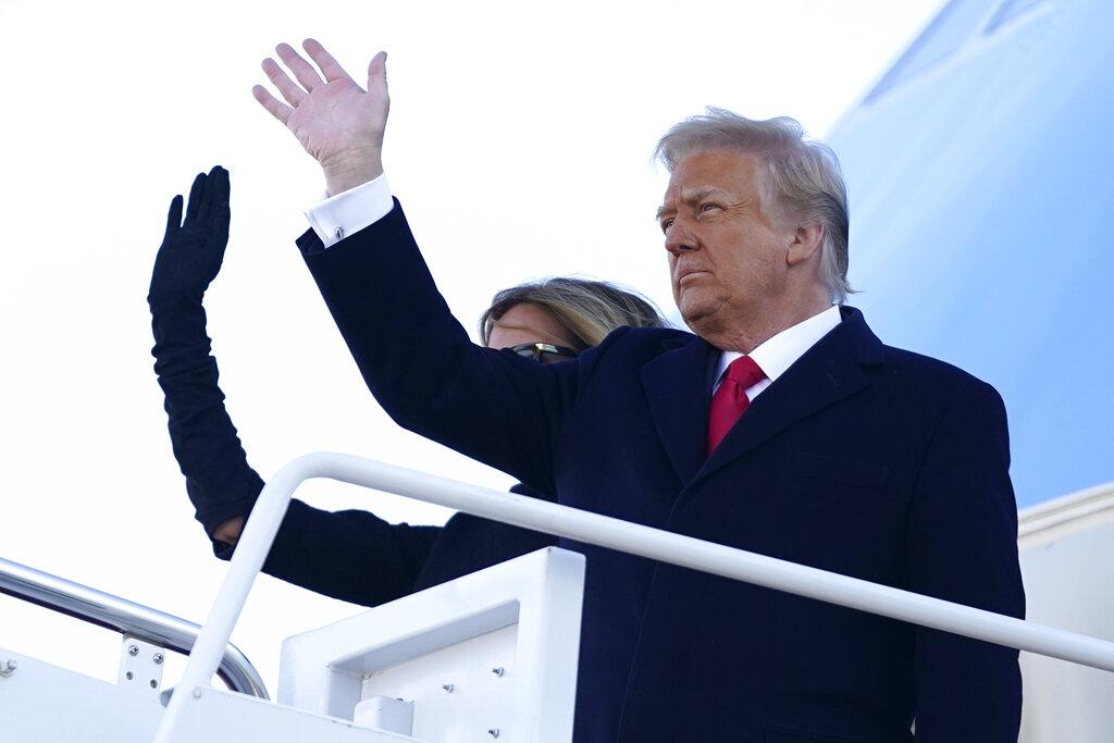 President Donald Trump and first lady Melania Trump board Air Force One at Andrews Air Force Base, Md., Wednesday, Jan. 20, 2021.(AP Photo / Manuel Balce Ceneta)