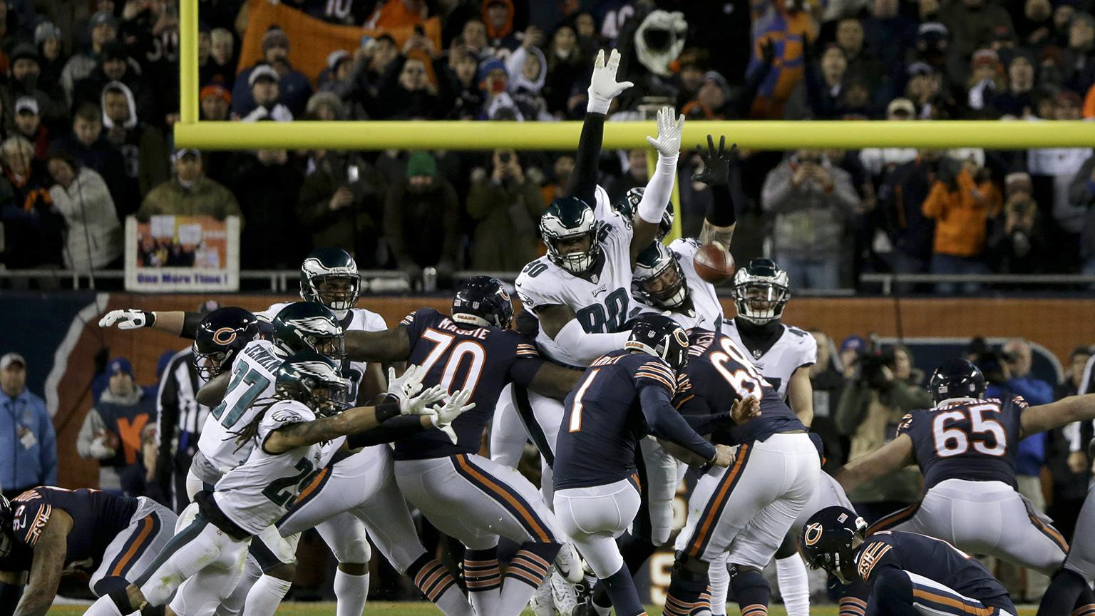 Chicago Bears kicker Cody Parkey (1) kicks and misses a field goal during the second half of an NFL wild-card playoff football game against the Philadelphia Eagles on Sunday, Jan. 6, 2019. The Eagles won 16-15. (AP Photo / David Banks)