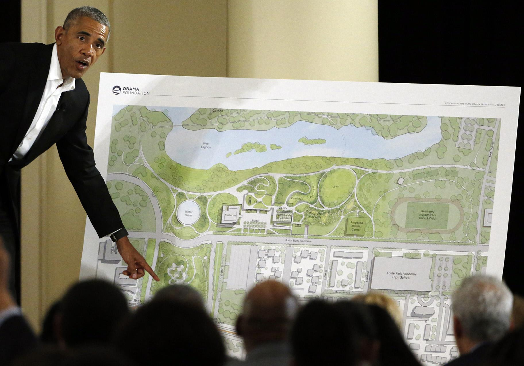 In this May 3, 2017 file photo, former President Barack Obama speaks at a community event on the Presidential Center at the South Shore Cultural Center in Chicago. (AP Photo / Nam Y. Huh, File)