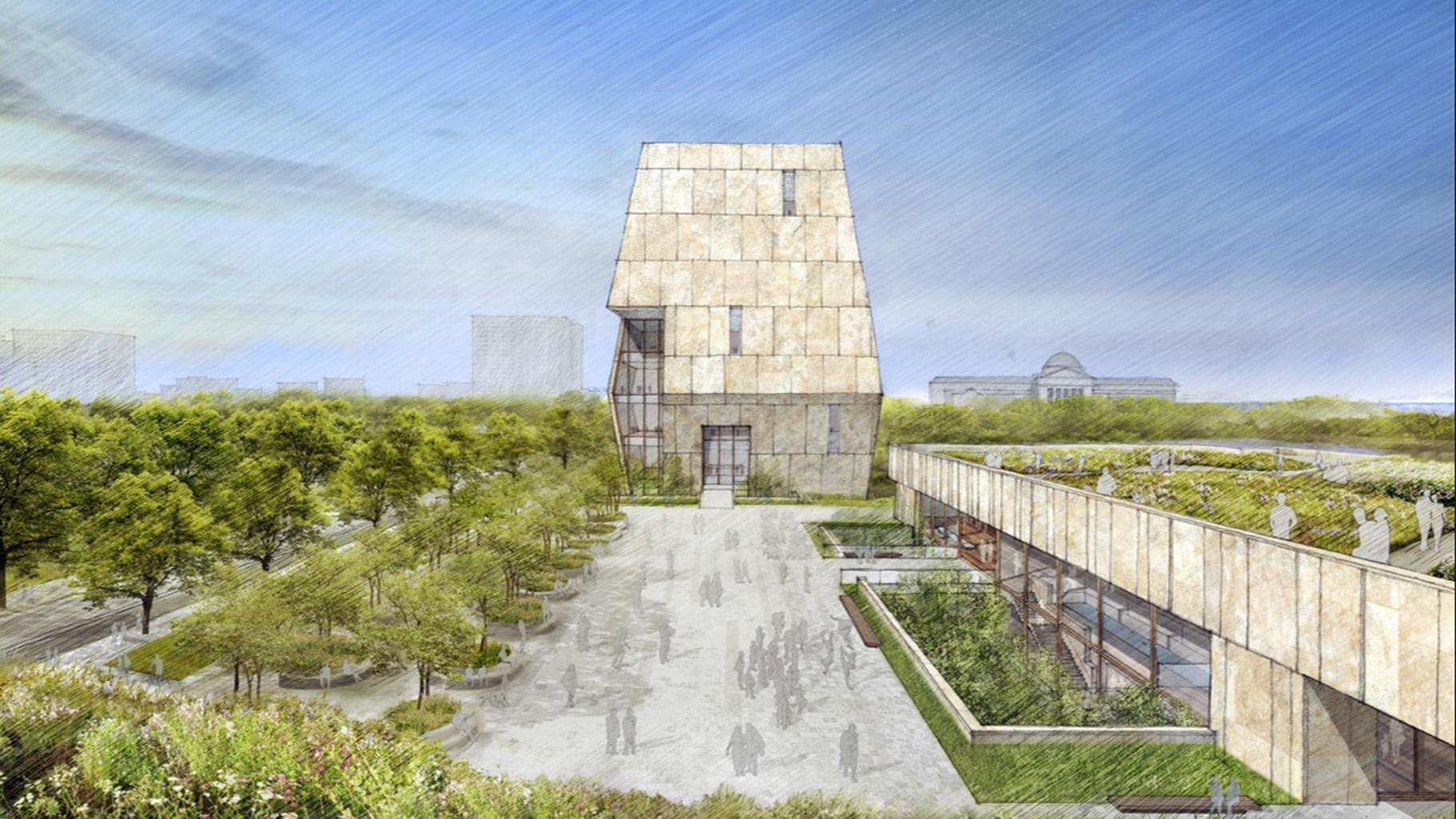 This illustration released on May 3, 2017 by the Obama Foundation shows plans for the proposed Obama Presidential Center with a museum, rear, in Jackson Park. (Obama Foundation via AP, File)