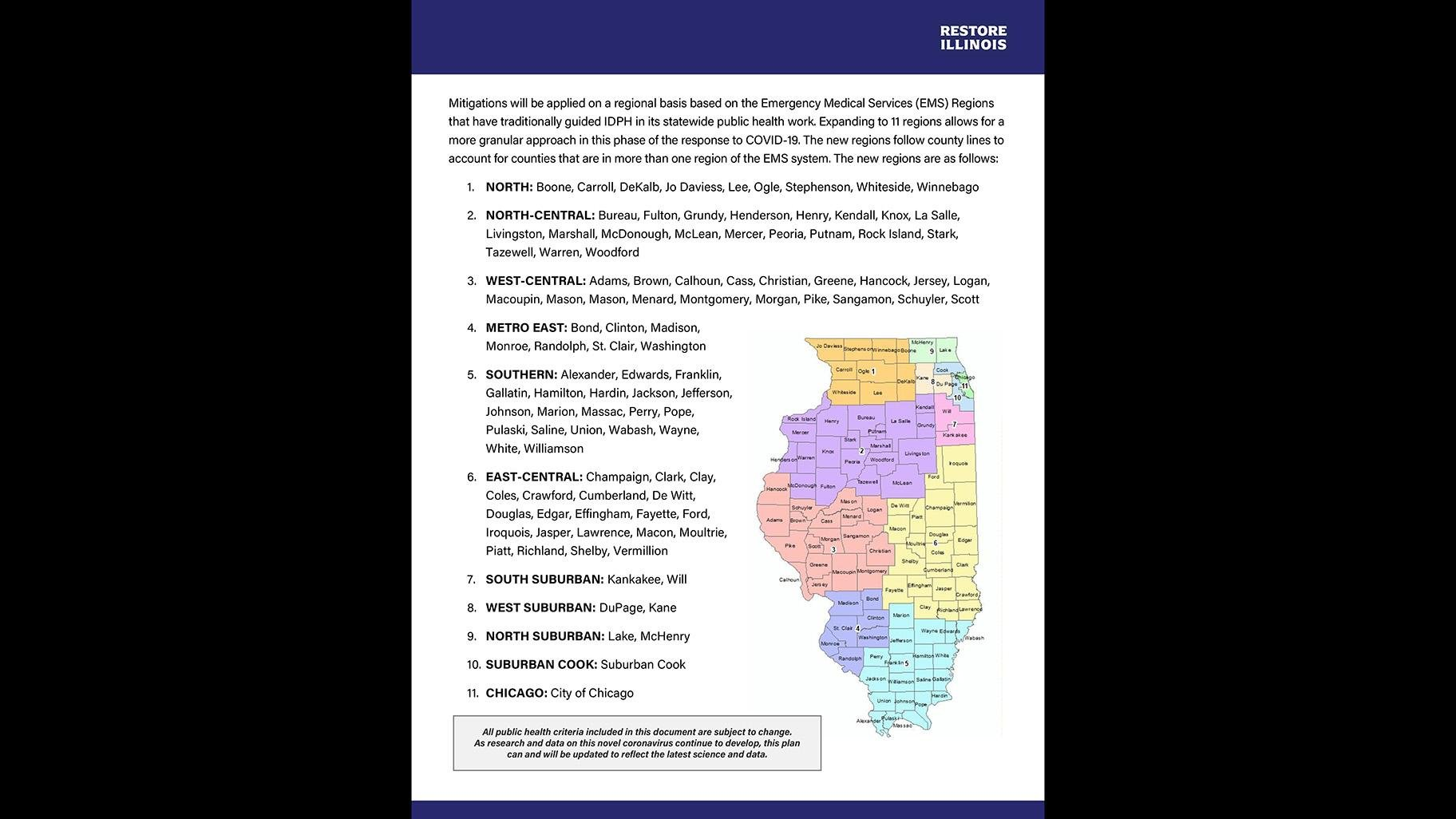 A map of Illinois' 11 regions. (Click to see full COVID-19 mitigation plan released by Gov. J.B. Pritzker.)