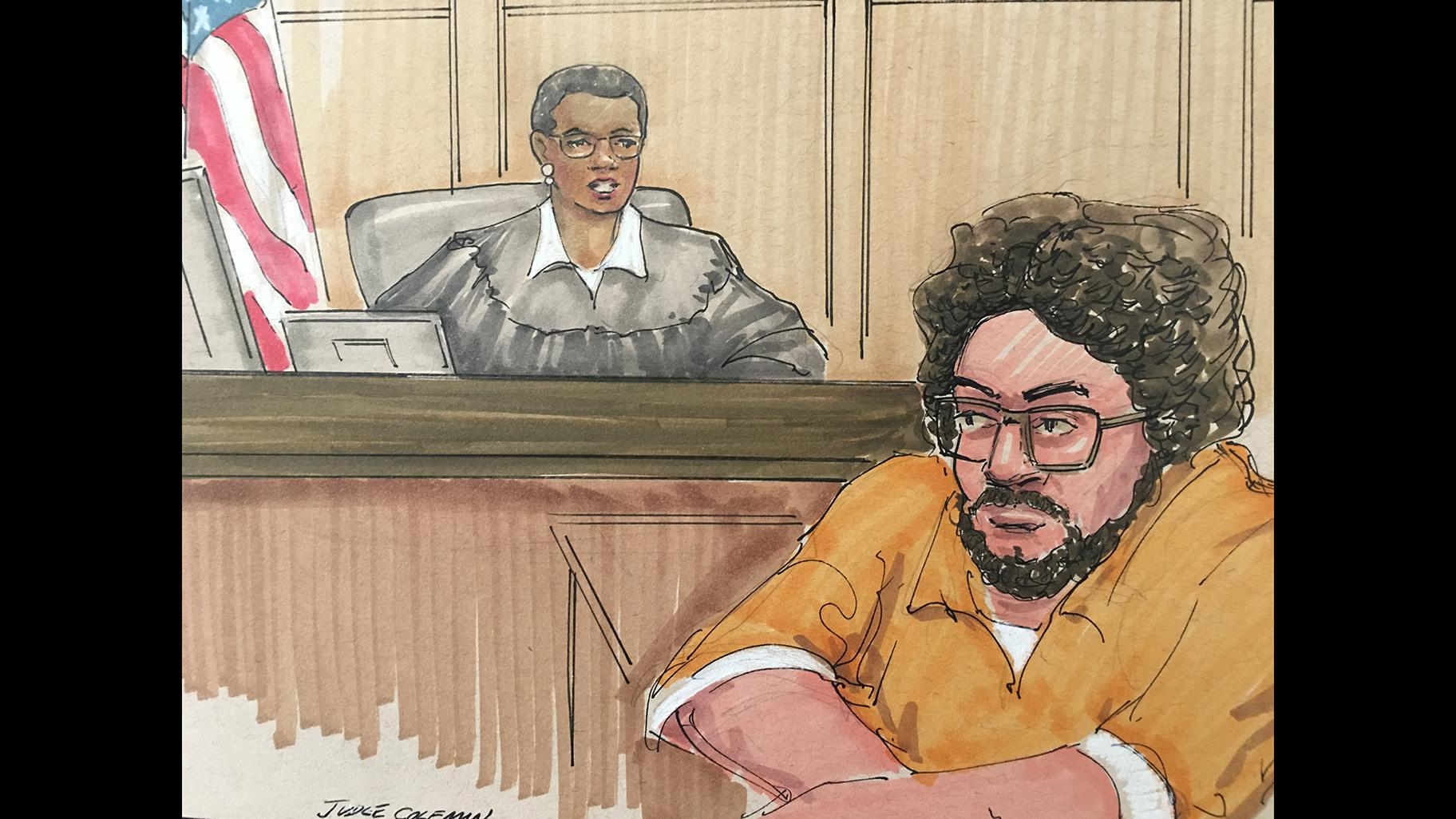 Adel Daoud, 25, appears before Judge Sharon Johnson Coleman on Monday, May 6, 2019 in Chicago. (Courtroom sketch by Thomas Gianni)