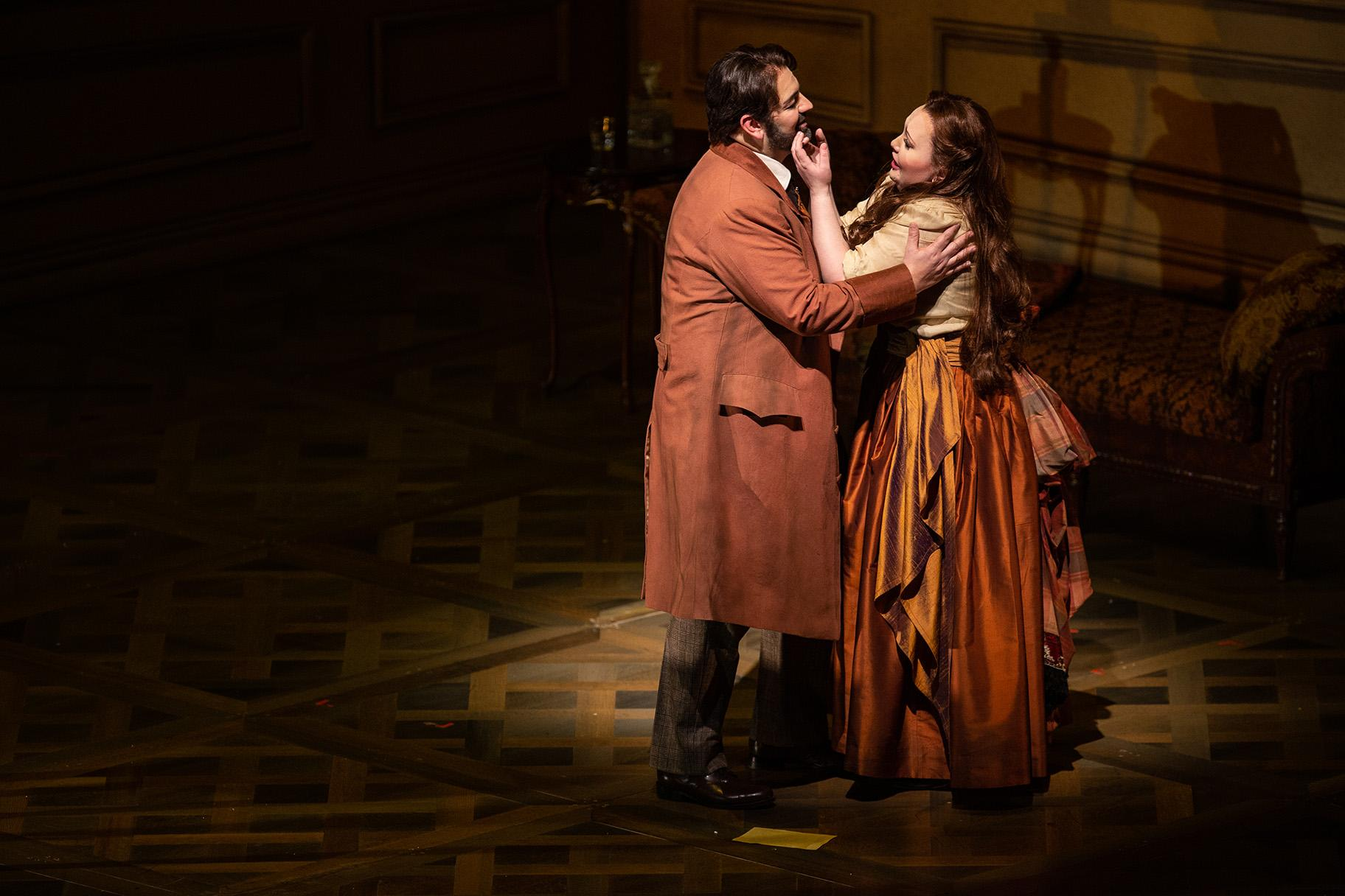 "Giorgio Berrugi and Albina Shagimuratova in ""La Traviata"" at Lyric Opera of Chicago. (Credit: Lyric Opera of Chicago)"