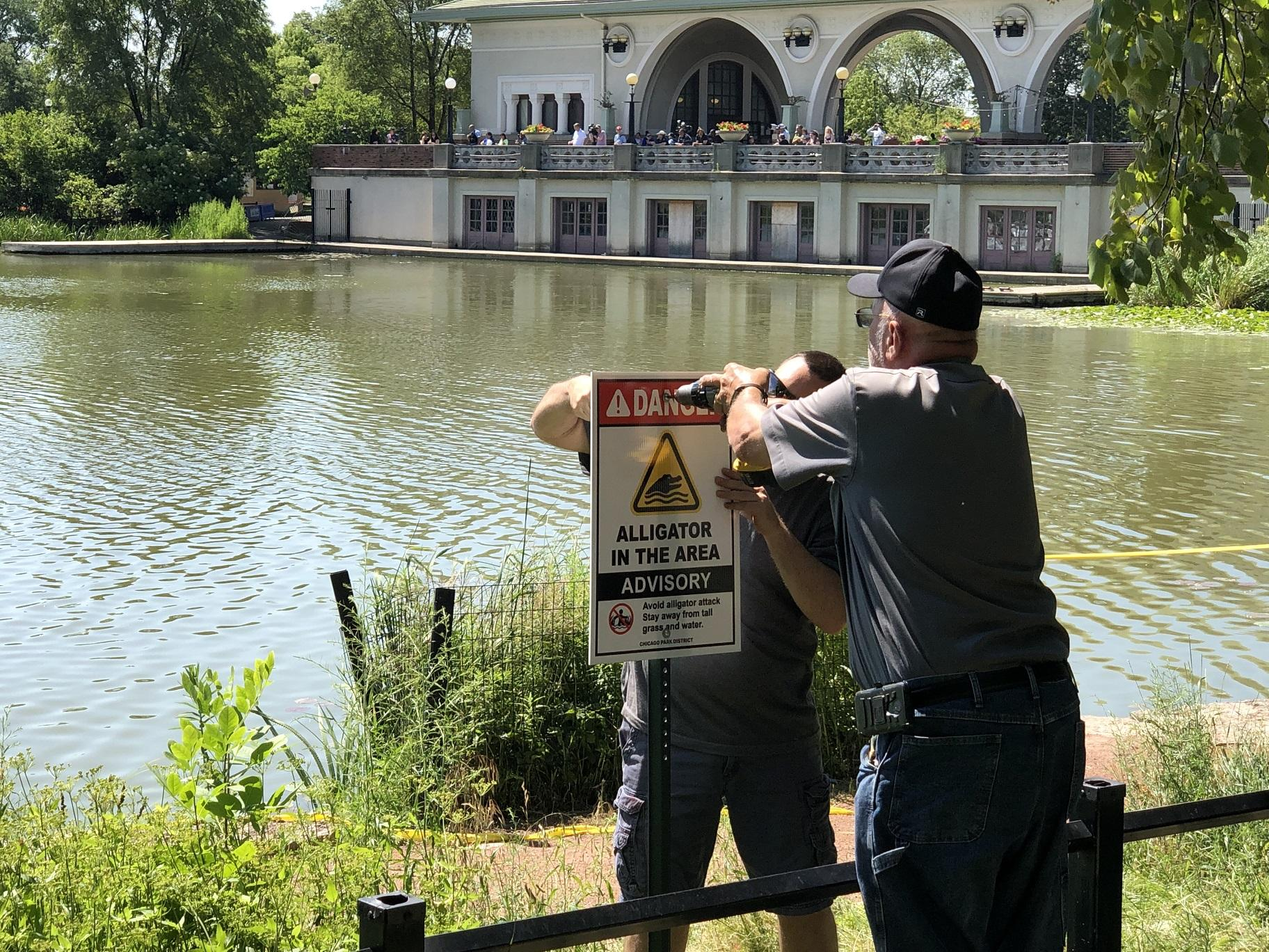 Chicago Park District officials adjust a sign warning visitors about the alligator living in the Humboldt Park Lagoon. (Alex Ruppenthal / WTTW News)