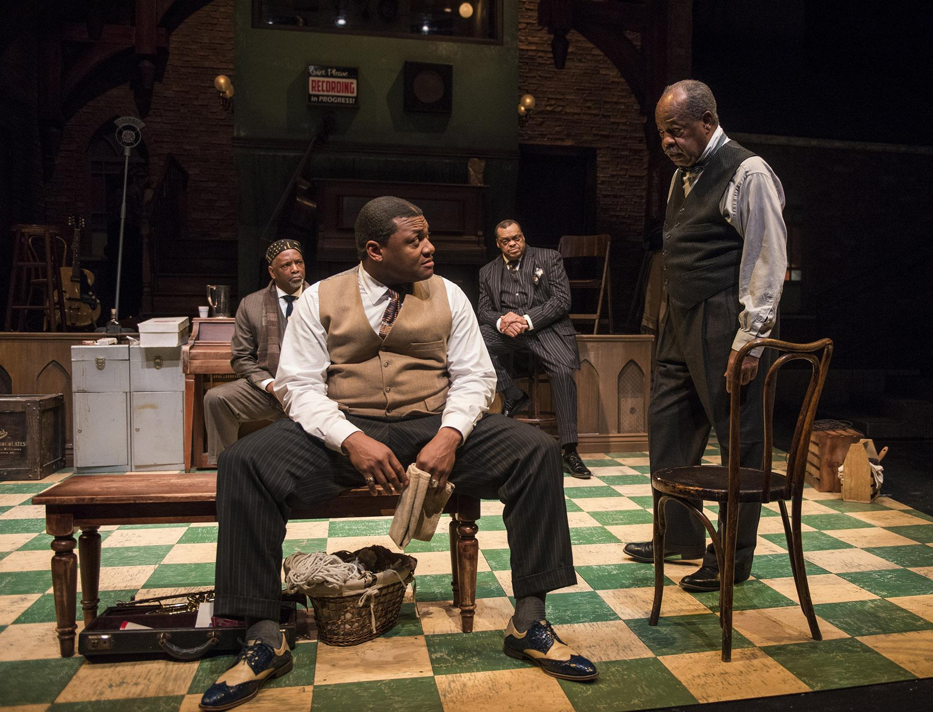 "From left: David Alan Anderson, Kelvin Roston, Jr., A.C. Smith and Alfred H. Wilson in ""Ma Rainey's Black Bottom"" at Writers Theatre. (Photo credit: Michael Brosilow)"