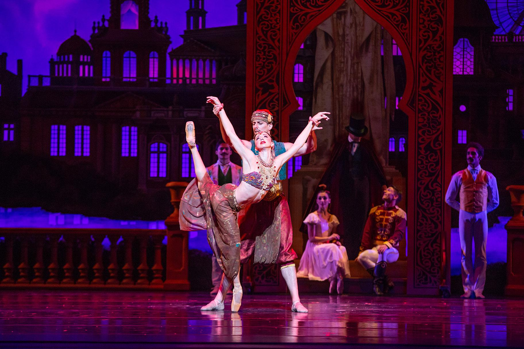 "April Daly and Miguel Angel Blanco in the Joffrey Ballet production of ""The Nutcracker."" (Photo by Cheryl Mann)"