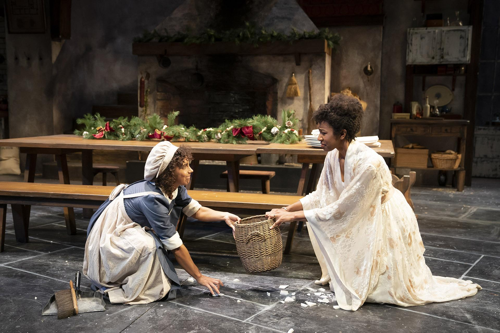 "Aurora Real de Asua (left) and Jennifer Latimore in ""The Wickhams: Christmas at Pemberley."" (Photo by Liz Lauren)"