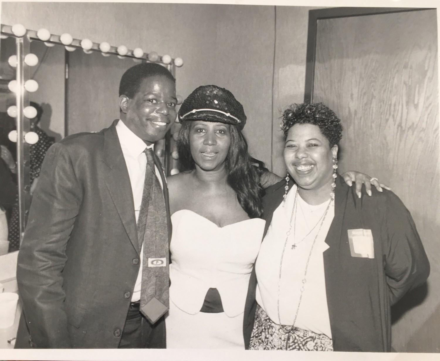 May 11, 1991: Aretha Franklin at the Holiday Star Plaza with Clarence Waldron, then senior editor at Jet Magazine, and Ava Odom Martin, then Ebony/Jet showcase producer and current Chicago Tonight assignment manager. (Courtesy of Debra Meeks Photography)