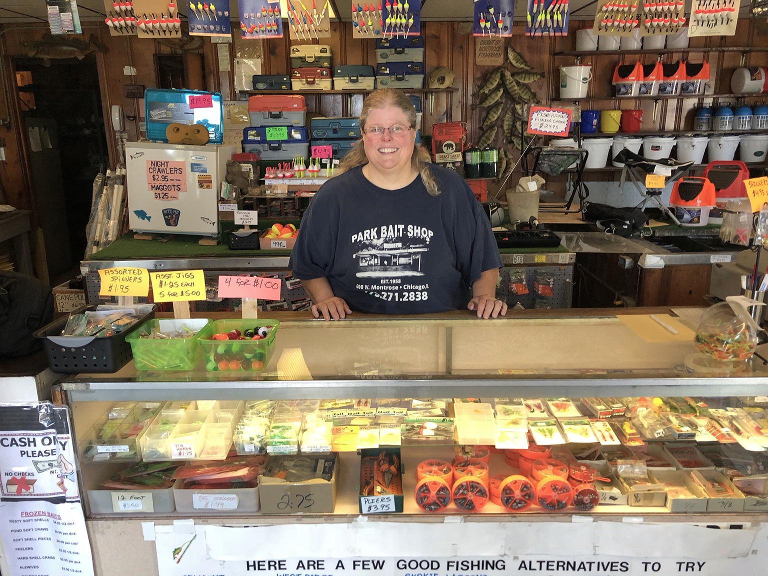 Stacey Greene is the owner of Park Bait Shop at Montrose Harbor. There has been a bait shop on that spot since at least the 1930s. Her father, Willie Greene, founded Park Bait in 1958. (Jay Shefsky / Chicago Tonight)