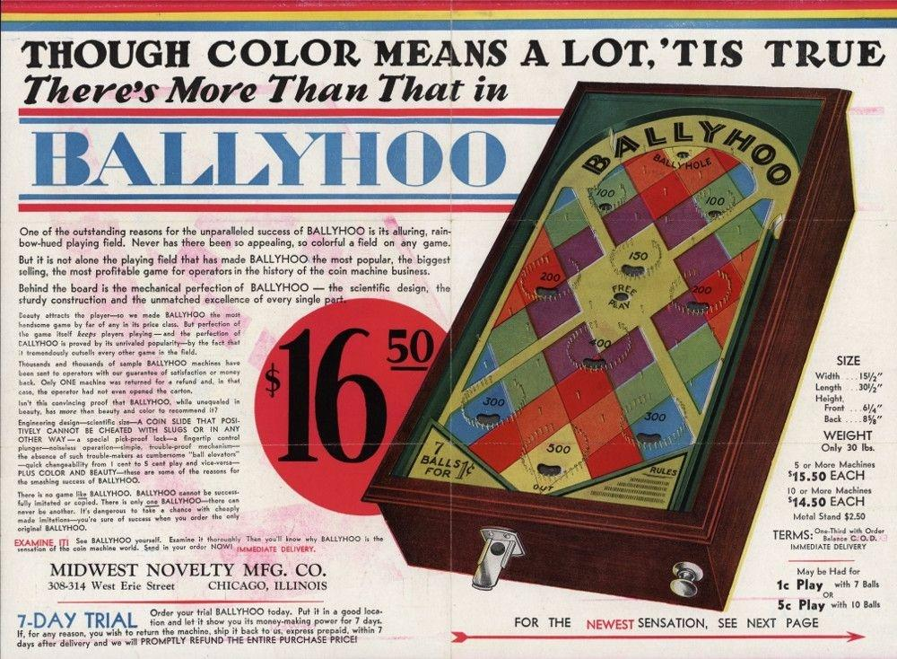 Bally pinball machine, 1932