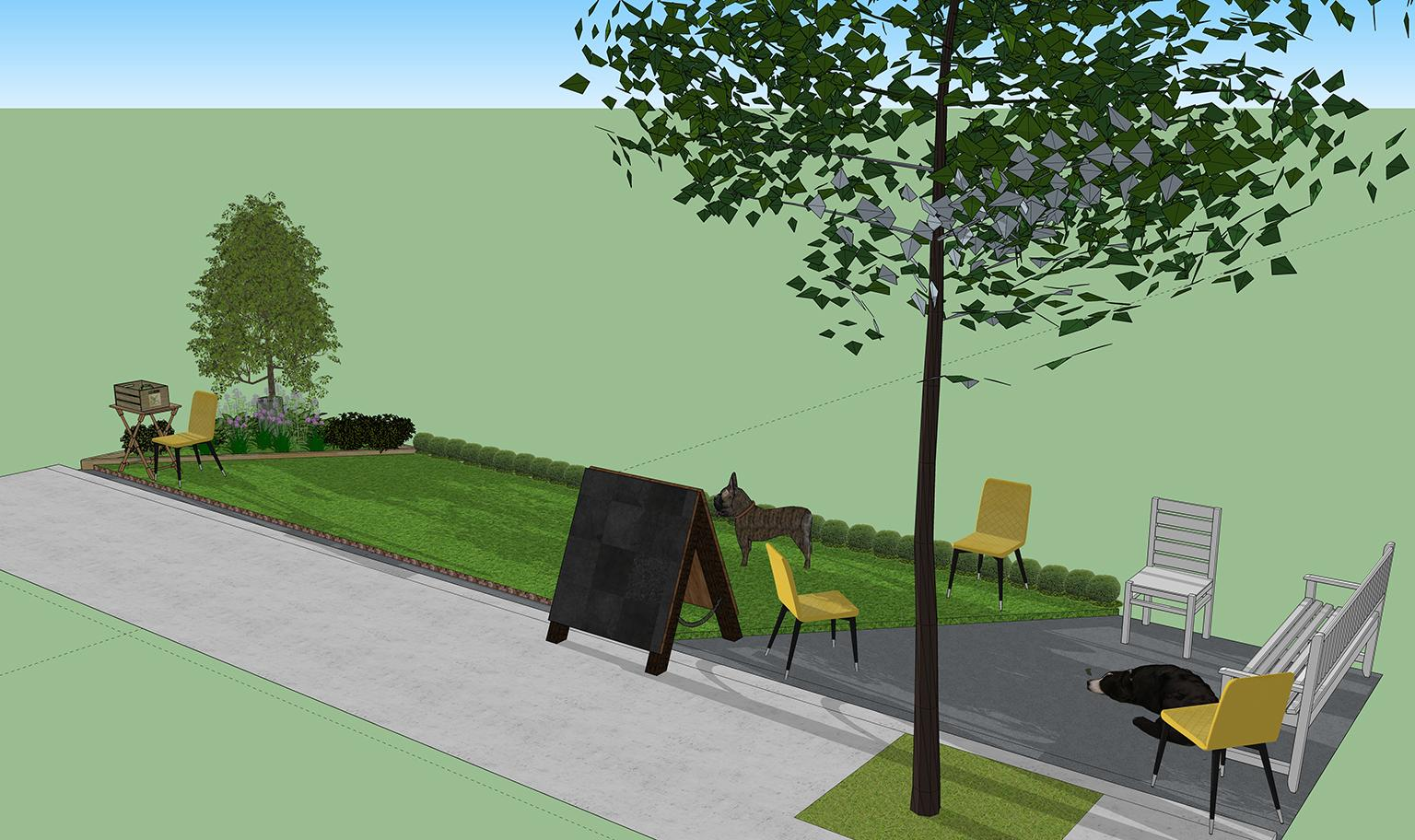 A rendering of the dog-friendly green space planned for two parking spaces in River North on Friday, Sept. 21, as part of PARK(ing) Day. (Courtesy of The Anti-Cruelty Society)