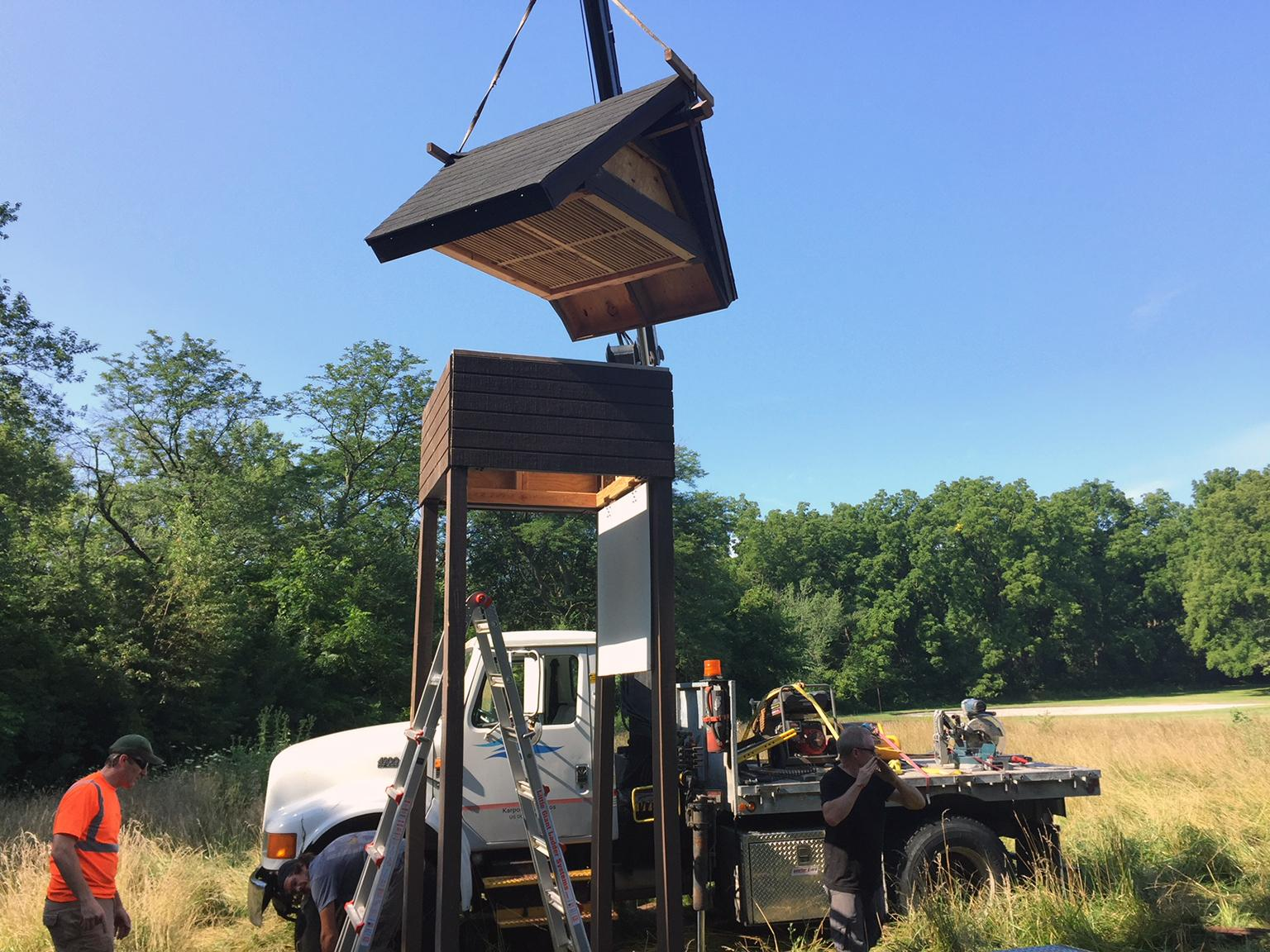 The sixth bat house to be installed in Cook County went up last week at Joe Orr Woods in Chicago Heights. (Courtesy Friends of the Chicago River)