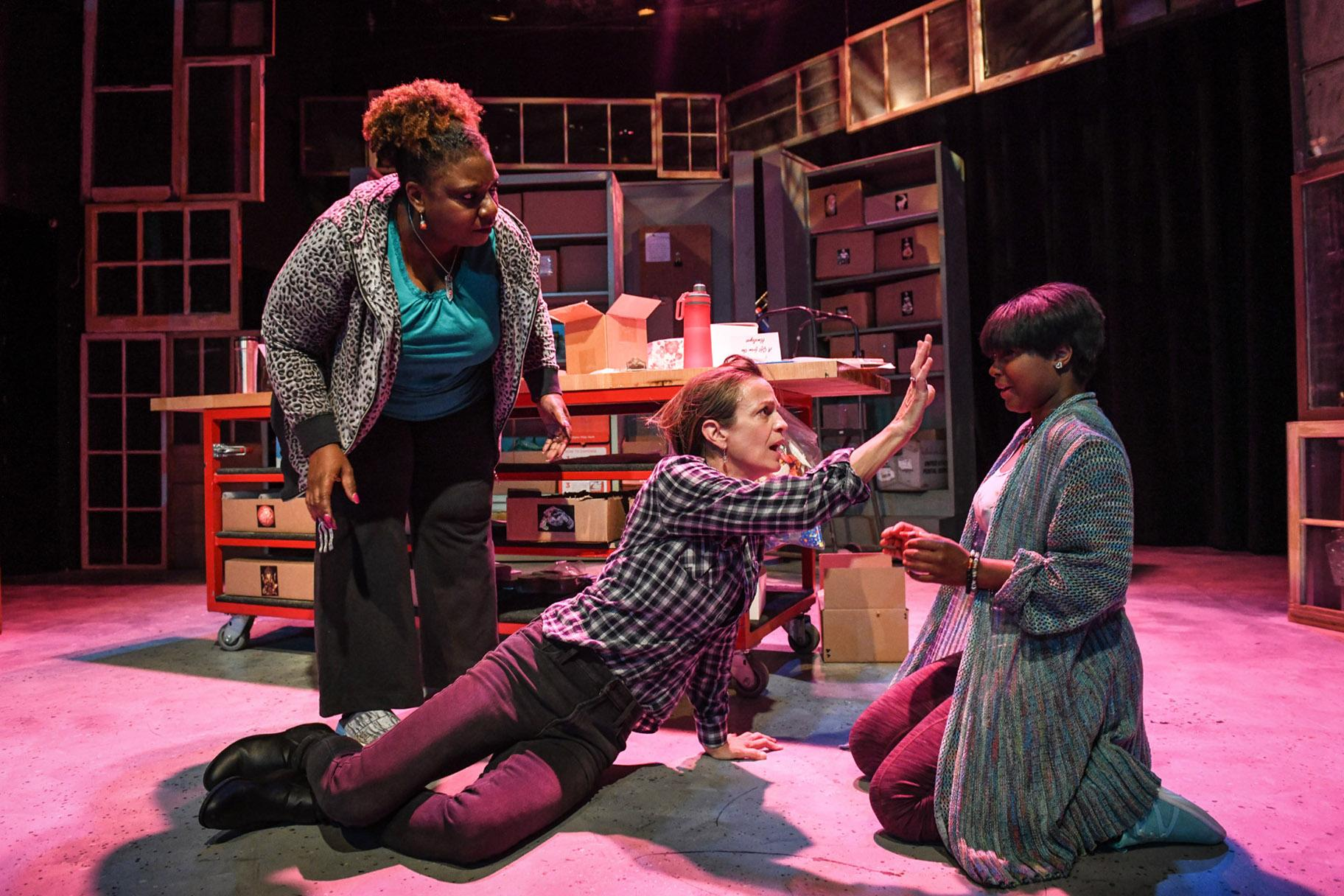 "From left: Deanna Reed-Foster, Rebecca Jordan and Demetra Dee in ""Be Here Now."" (Photo by Evan Hanover)"