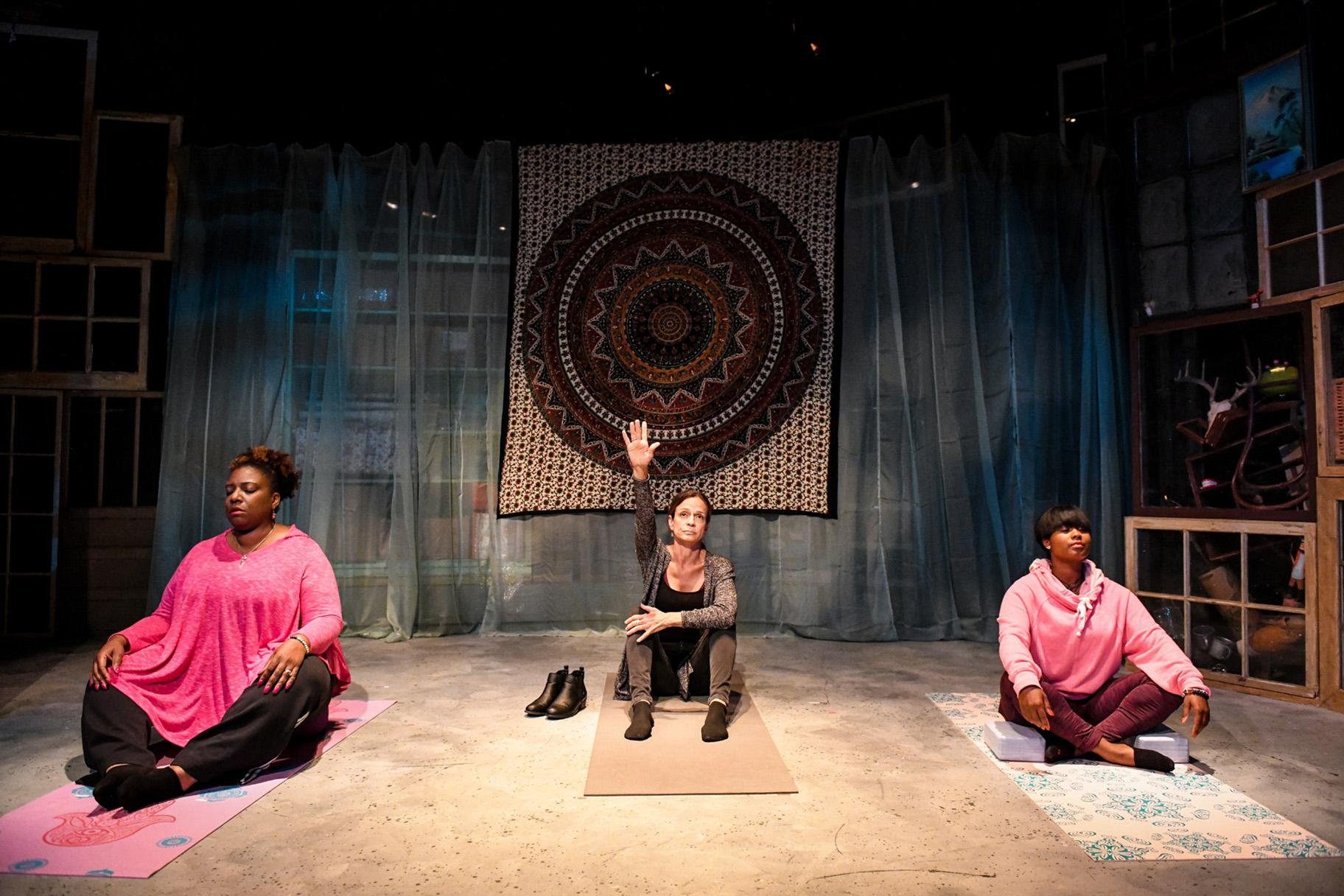 "Deanna Reed-Foster, Rebecca Jordan and Demetra Dee in Shattered Globe Theatre's Chicago premiere of ""Be Here Now."" (Photo by Evan Hanover)"