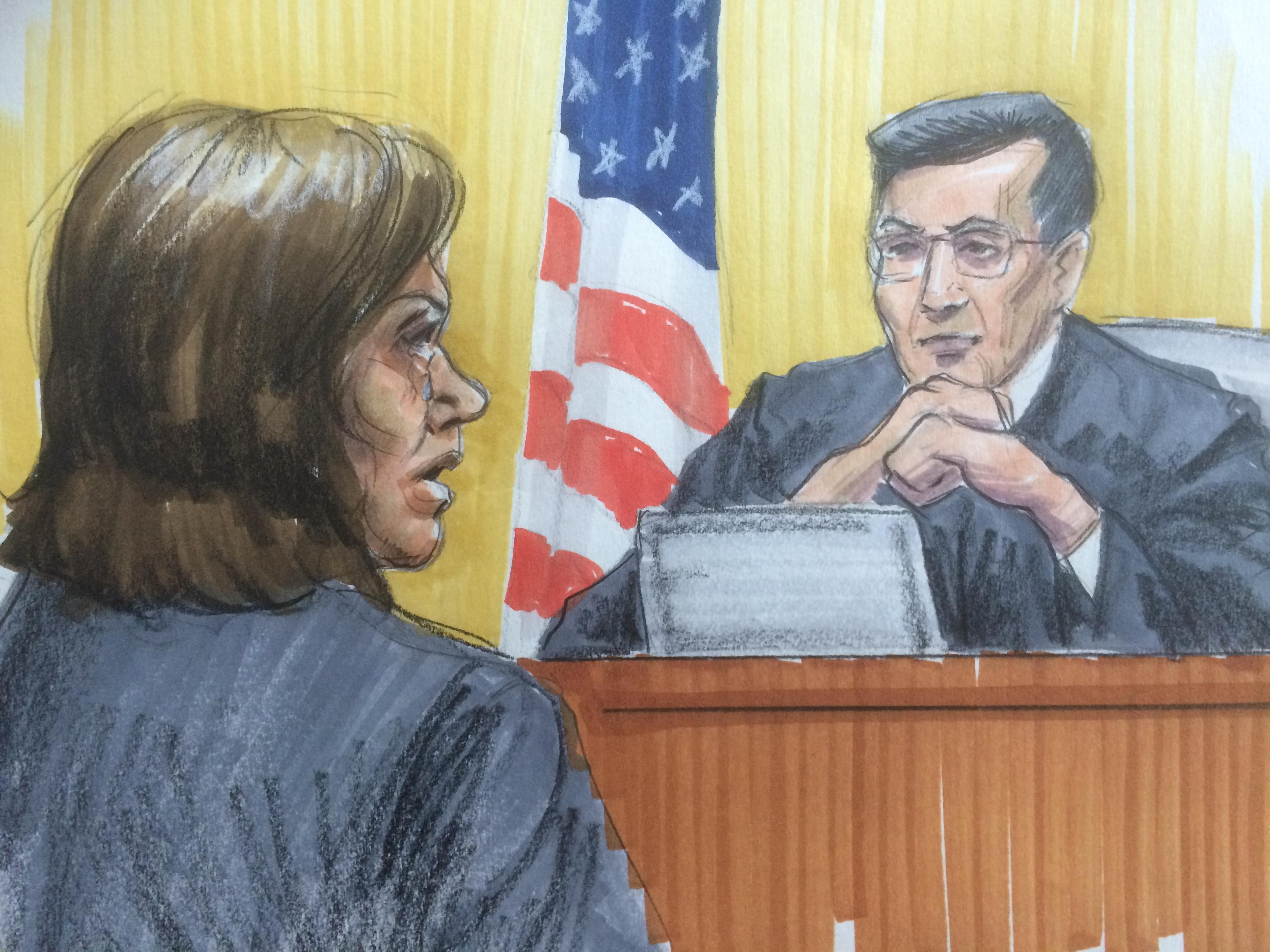 Courtroom sketch of Barbara Byrd-Bennett pleading and crying in front of U.S. District Judge Edmond Chang. (Thomas Gianni)