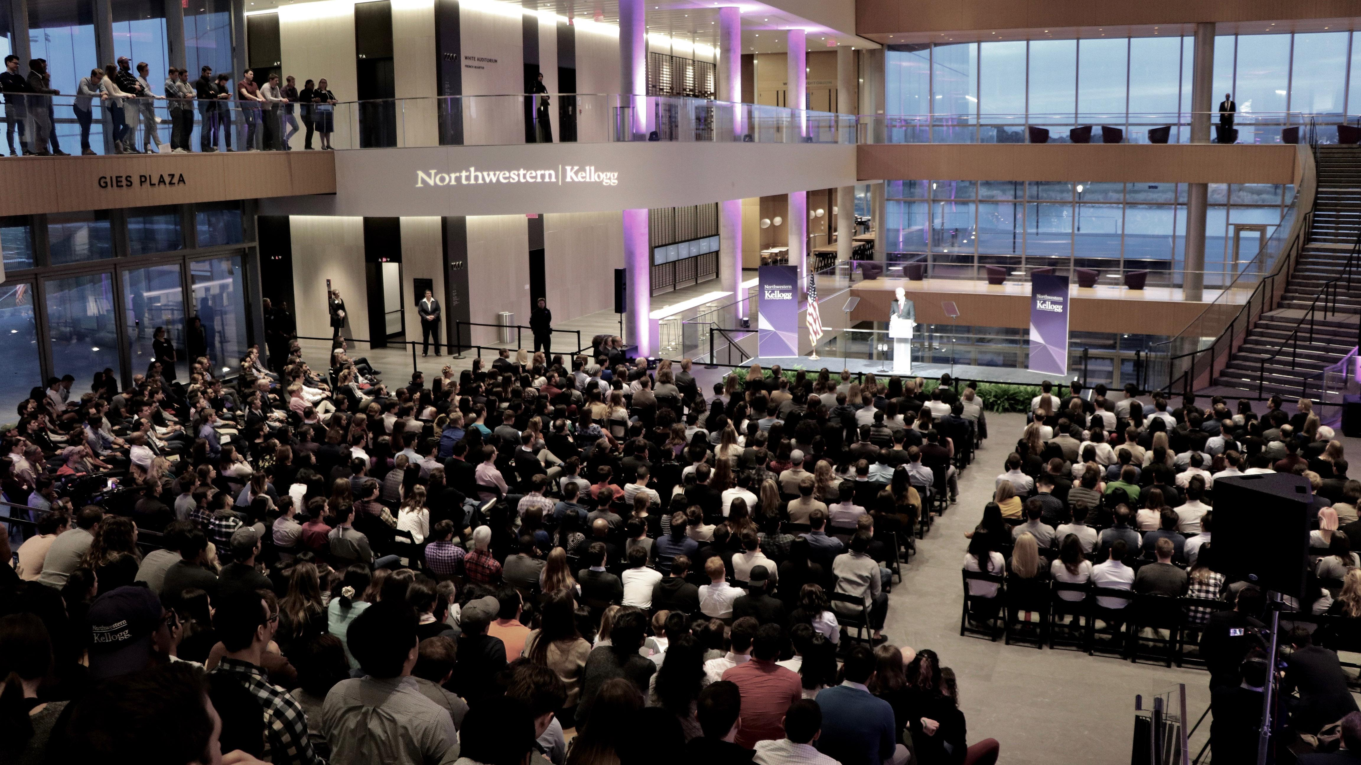 A sold-out crowd gathers at Northwestern's Kellogg Global Hub to hear former Vice President Joe Biden speak. (Evan Garcia / Chicago Tonight)