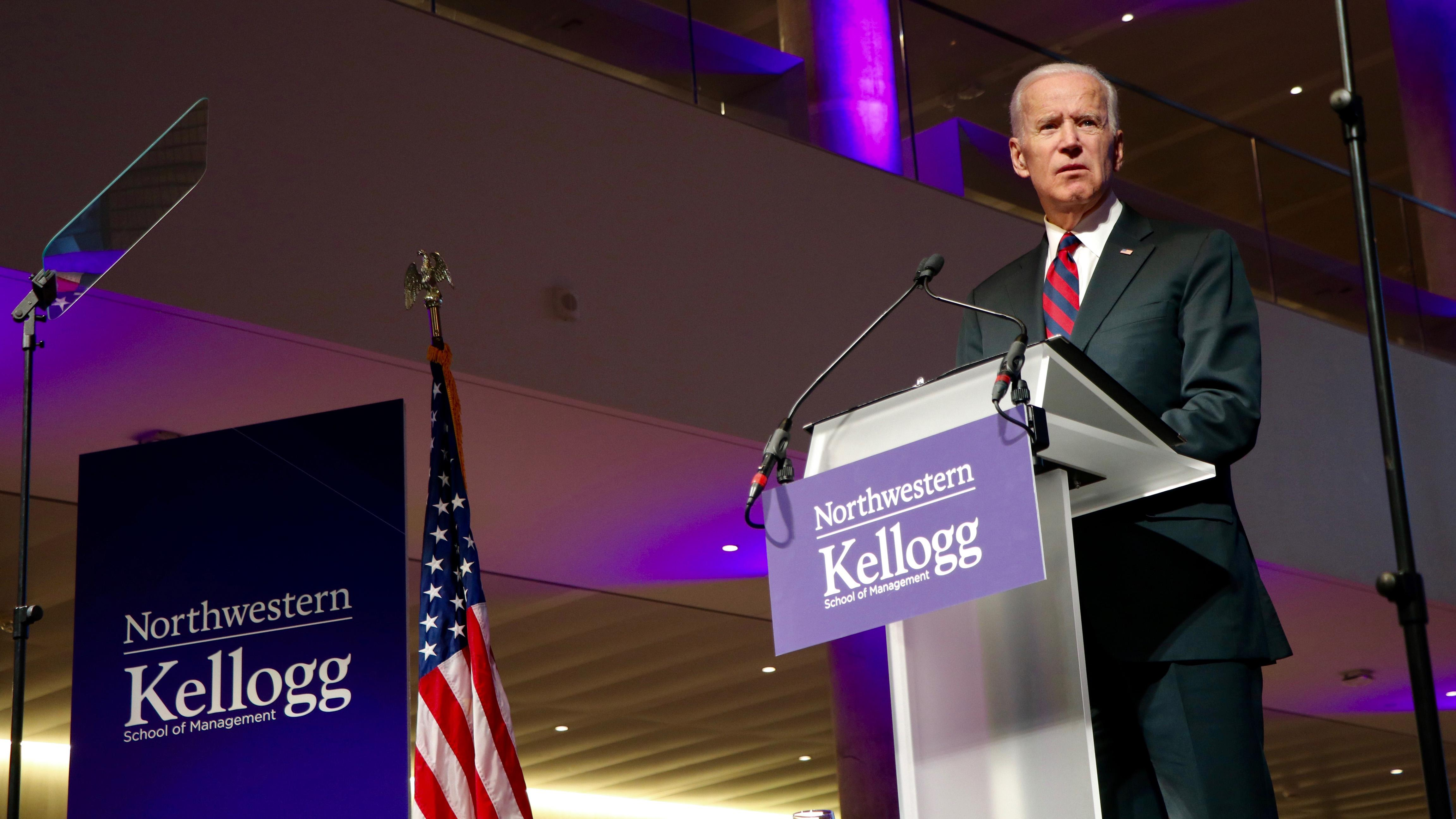 Biden touched on a range of issues Friday, including immigration, gender equality and education. (Evan Garcia / Chicago Tonight)