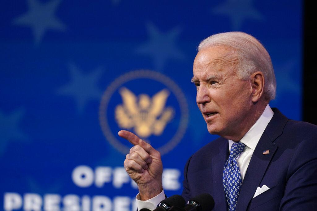 President-elect Joe Biden speaks at The Queen Theater in Wilmington, Del., Tuesday, Dec 22, 2020. (AP Photo / Carolyn Kaster)
