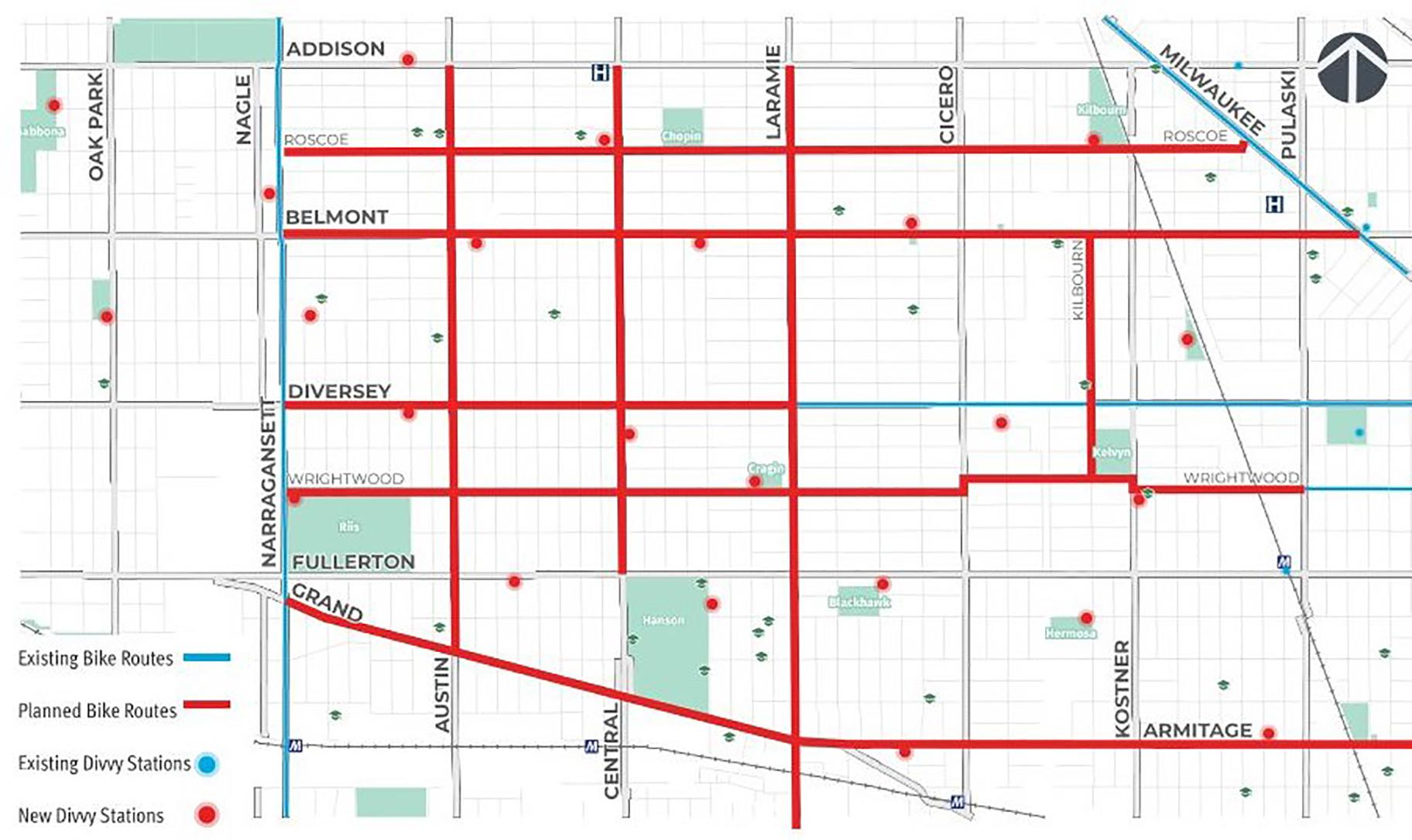 The city's transportation department has been installing a new grid of bike routes in Belmont Cragin and Hermosa, two predominantly Latino neighborhoods on the West Side, as part of the Chicago Works Capital Plan launched in April. (Courtesy of CDOT)
