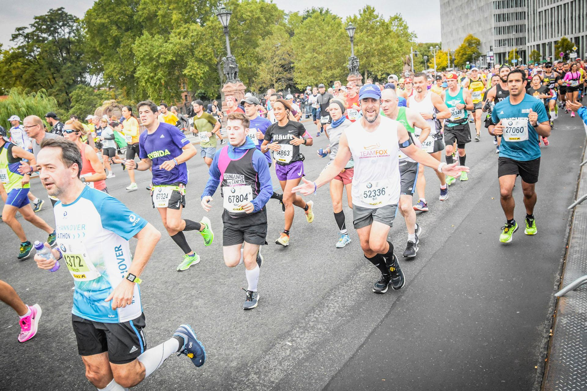 Wilmette resident Bill Bucklew, in the Team Fox tank top above, ran in the Berlin marathon on Sept. 29, 2019. Bucklew, who was diagnosed with Parkinson's disease at age 43, will run in the Chicago marathon on Sunday, Oct. 13. (Courtesy of Bill Bucklew)