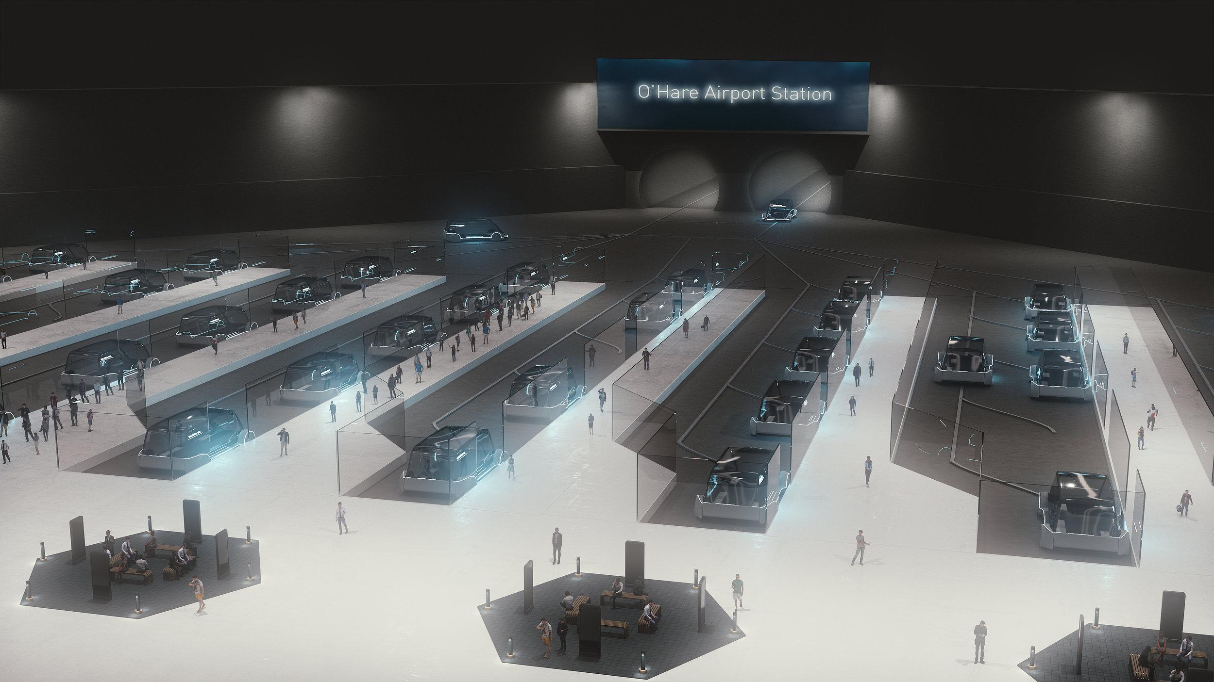 A rendering of a high-speed train station (Credit: The Boring Company)
