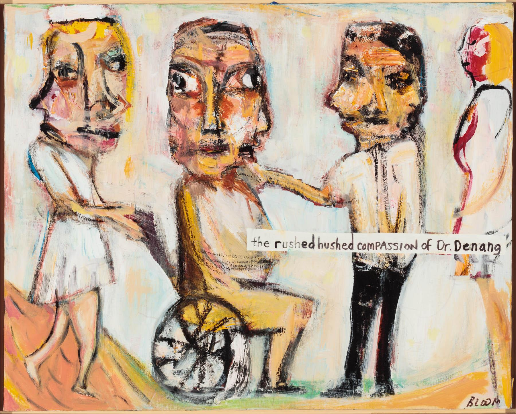 Jim Bloom (American, b. 1968). The Rushed Hushed Compassion of Dr. Denang, n.d. Mixed media on canvas, 24 x 30 in. (61 x 76.2 cm). Collection of Victor F. Keen