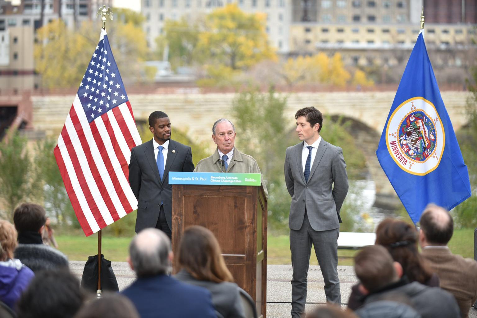 Former New York Mayor Michael Bloomberg speaks alongside the mayors of Minneapolis and St. Paul on Monday, Oct. 29, while announcing the Midwest winners of the American Cities Climate Challenge. (Courtesy Bloomberg Philanthropies)
