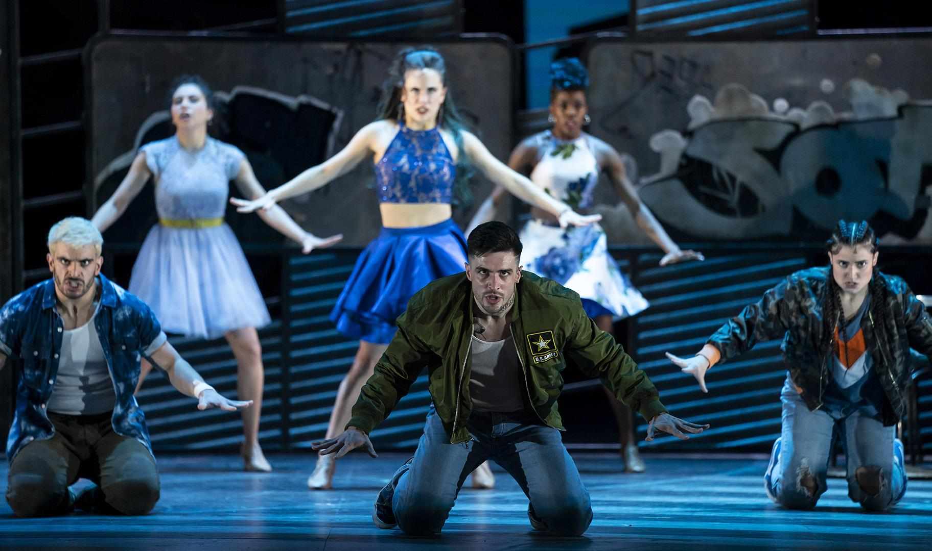 "Brett Thiele, center, in ""West Side Story"" at Lyric Opera of Chicago. (Photo credit: Todd Rosenberg)"