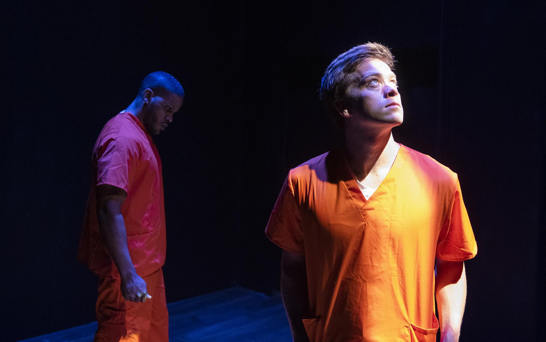 "Brian Keys, left, and Julian Hester in ""The Recommendation"" at Windy City Playhouse. (Photo credit Michael Brosilow)"