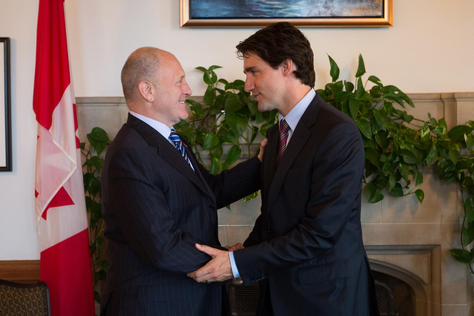 U.S. Ambassador to Canada Bruce Heyman, left, and Canadian Prime Minister Justin Trudeau. (Courtesy Uncharted, LLC)