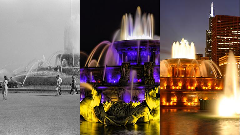 Buckingham Fountain in 1941, left, and bathed in color today.