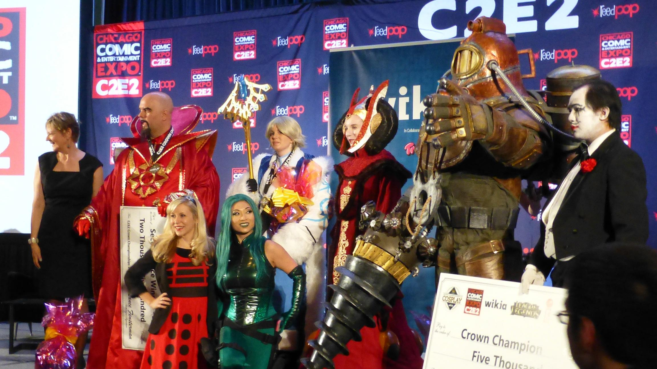 Winners and judges in the first annual Chicago Comic & Entertainment Expo (C2E2) Crown Championships of Cosplay in 2014. (GabboT / Flickr)