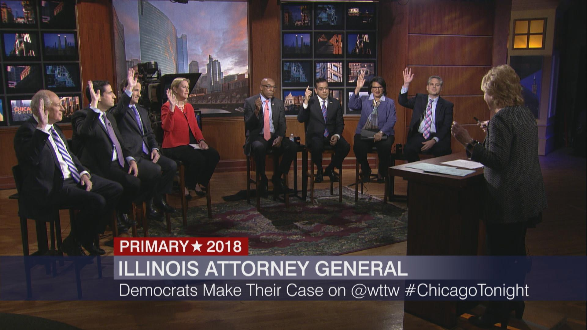 "Democratic candidates for attorney general raise their hands Monday on ""Chicago Tonight"" in response to Carol Marin's question, ""Should Mike Madigan step down as chairman of the Democratic Party?"""