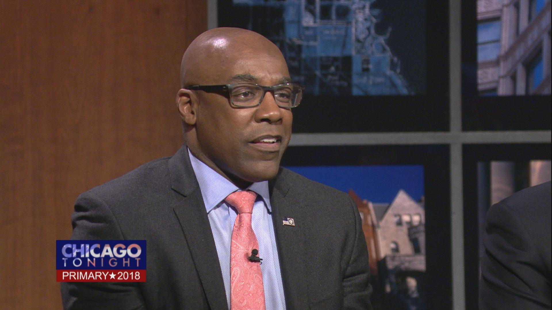 State Sen. Kwame Raoul participates in a Chicago Tonight candidate forum March 12, 2018.