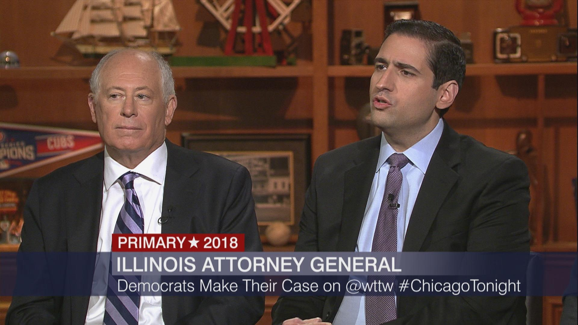 "Former assistant U.S. attorney Renato Mariotti spars with former Gov. Pat Quinn during a forum Monday on ""Chicago Tonight."""