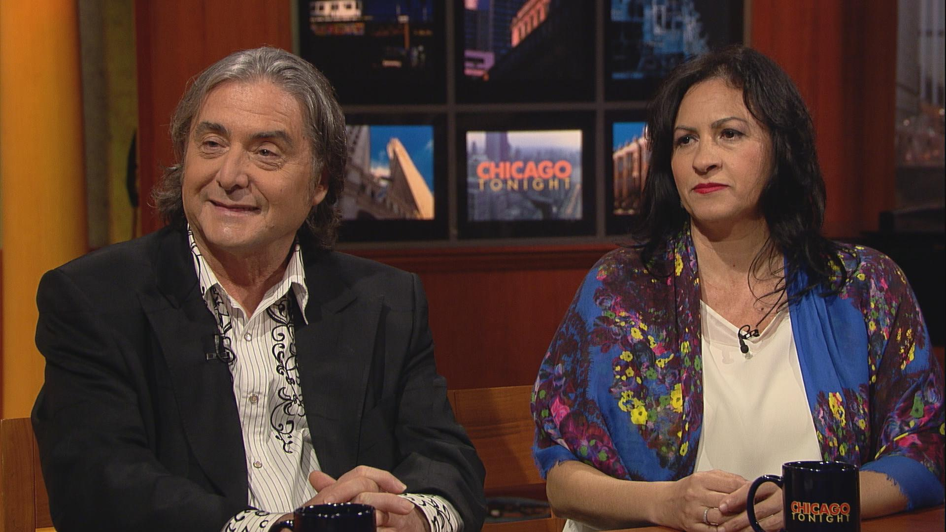 Composer Elbio Barilari, left, and guitarist Iliana Matos appear on Chicago Tonight in October to discuss the Chicago Latino Music Festival. Click on the image for the conversation and performance.