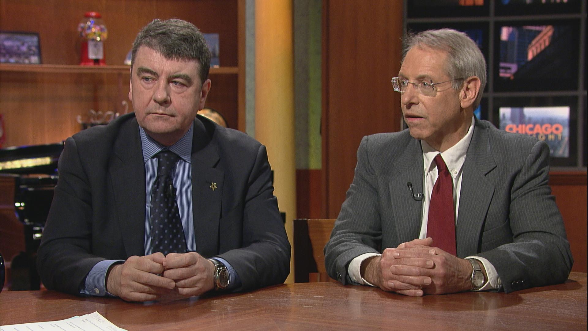 "Dr. Francis Giles, left, and Steven Davidsen on ""Chicago Tonight."""