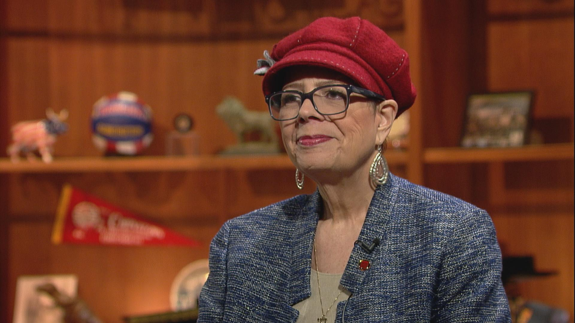 "Karen Lewis appears on ""Chicago Tonight"" in March 2016."