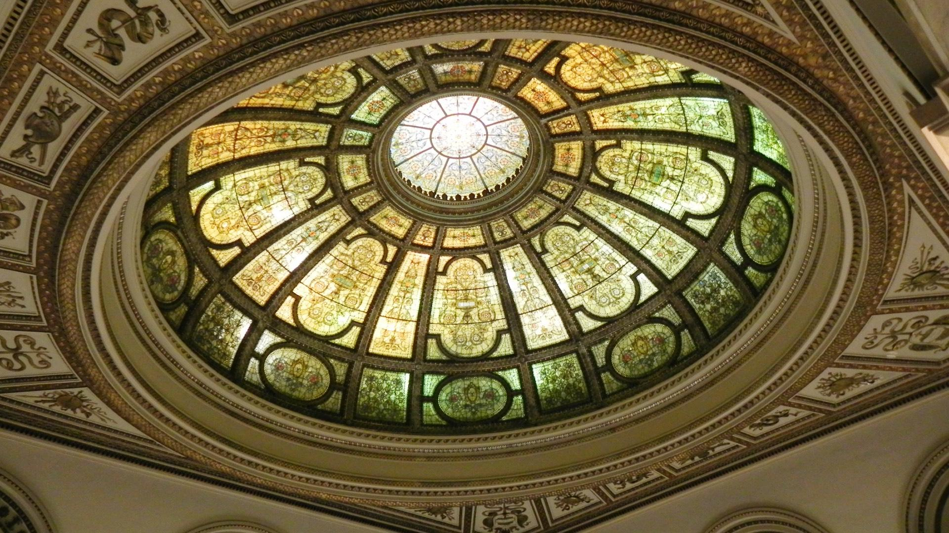 The G.A.R. dome is one of two designed by Louis Comfort Tiffany for the Cultural Center. (Courtesy Department of Cultural Affairs and Special Events)