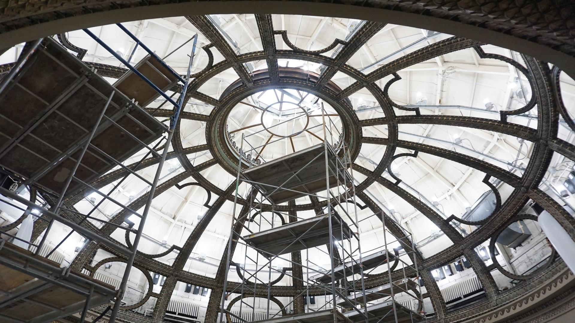 The dome's 62,000 pieces of glass have been removed for restoration and will be reinstalled. (Courtesy of Harboe Architects)