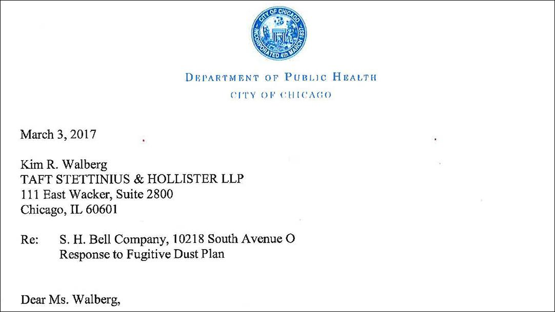 Document: Chicago Department of Public Health letter to S.H. Bell