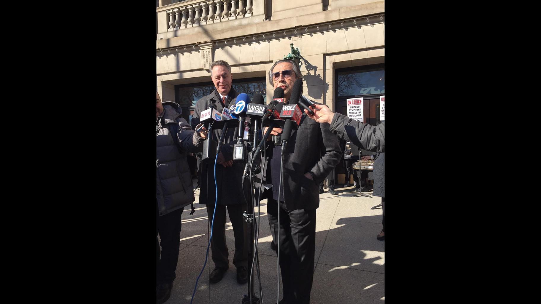 Conductor Riccardo Muti speaks outside Symphony Center on Tuesday, March 12, 2019. (Eddie Arruza / WTTW News)