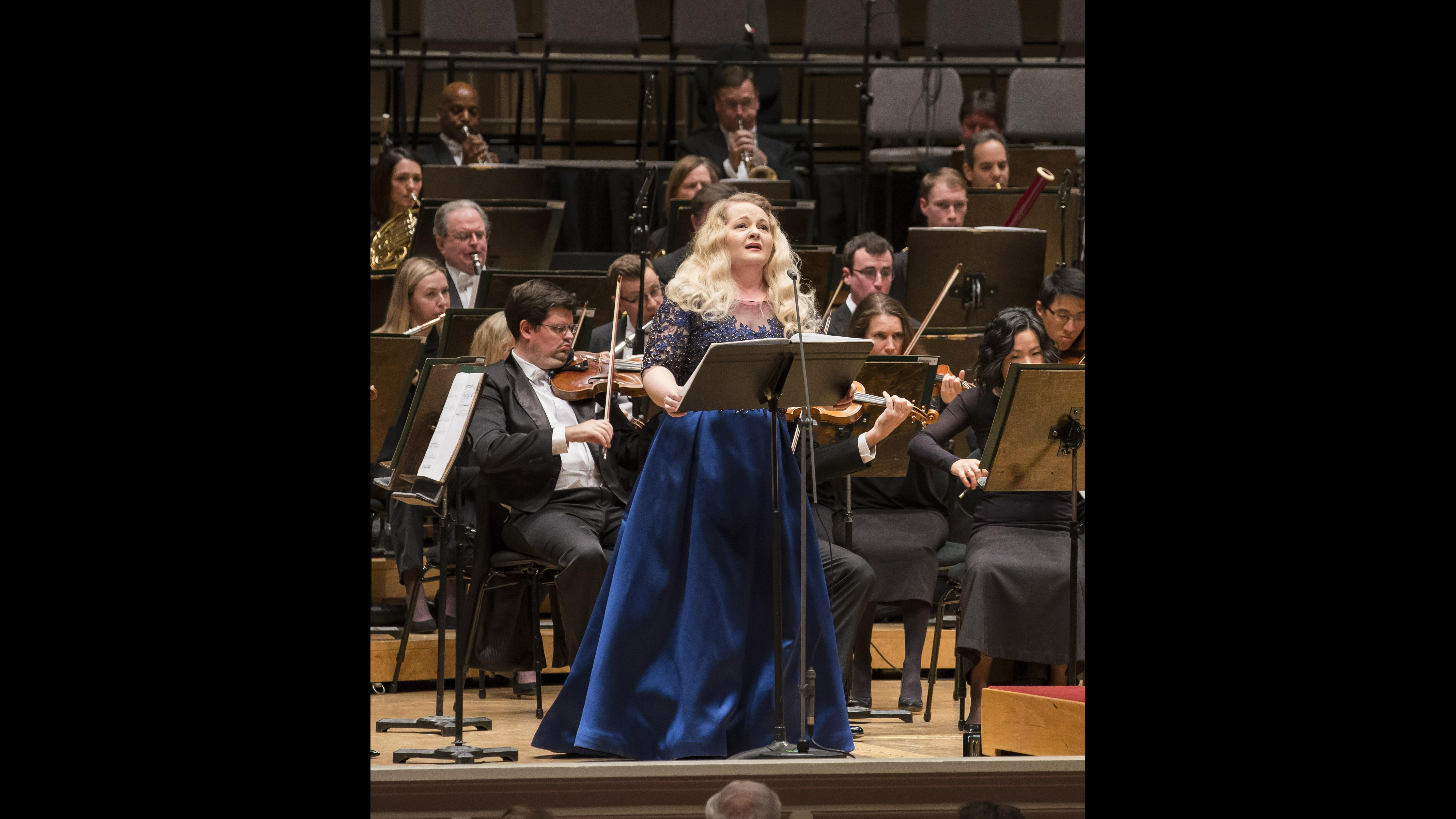 "Mezzo-soprano Elizabeth DeShong in the world premiere of ""Three Lisel Mueller Settings"" by Max Raimi. (Credit: Todd Rosenberg)"