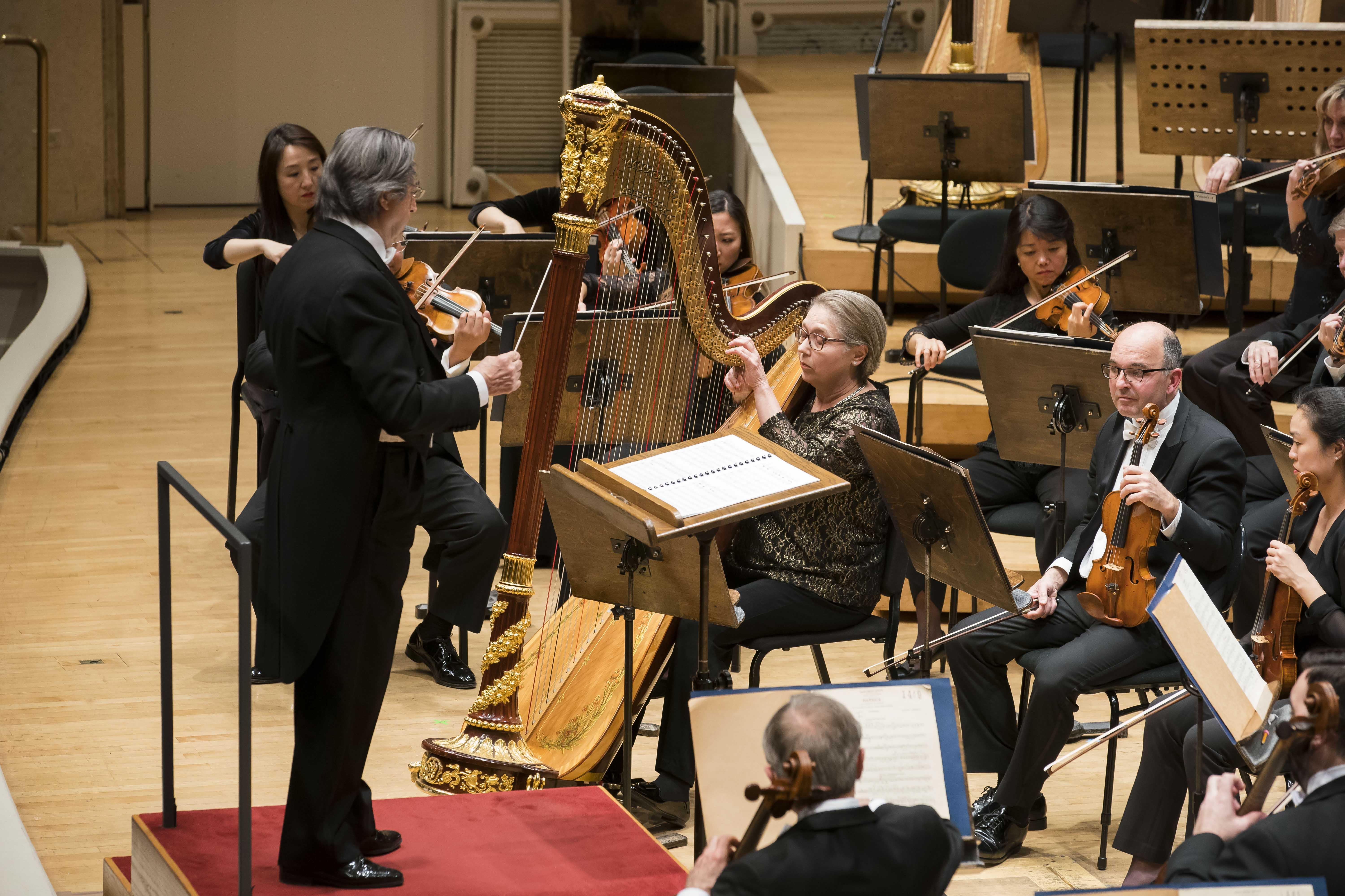 "Zell Music Director Riccardo Muti leads the CSO in Debussy's ""Sacred and Profane Dances,"" with CSO Principal Harp Sarah Bullen as soloist. (© Todd Rosenberg)"