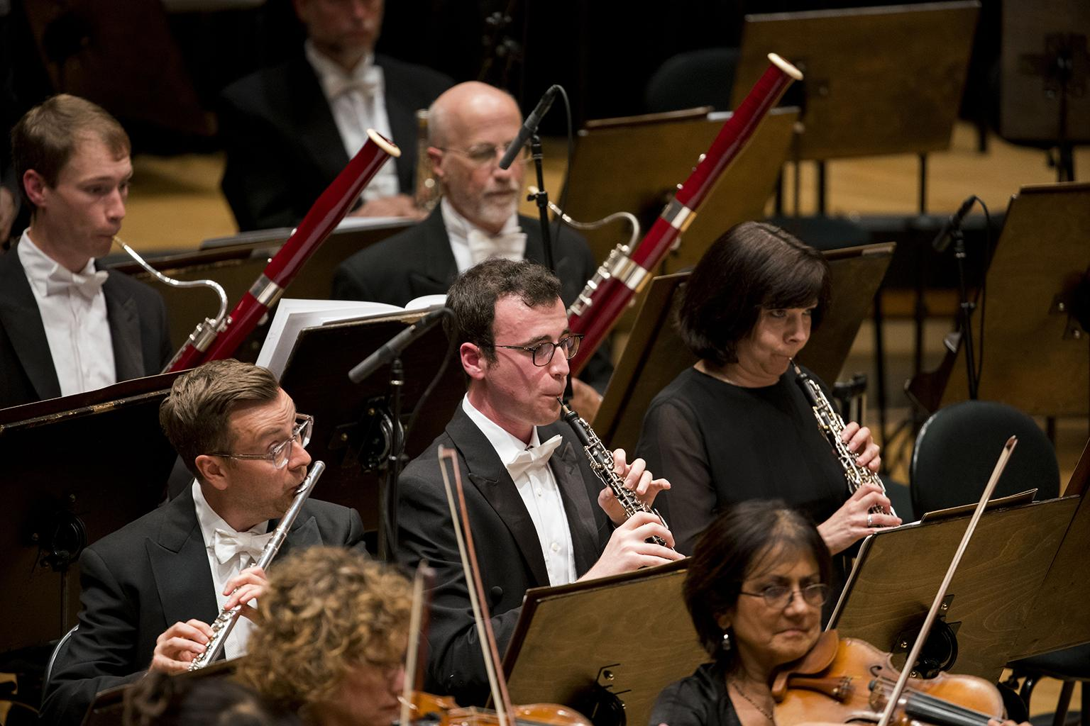 "From left: Principal Flute Stefán Ragnar Höskuldsson, new Principal Oboe William Welter and CSO oboist Lora Schaefer join their fellow musicians in the CSO's first performances of Prokofiev's ""Sinfonietta."" (Photo credit: Todd Rosenberg)"