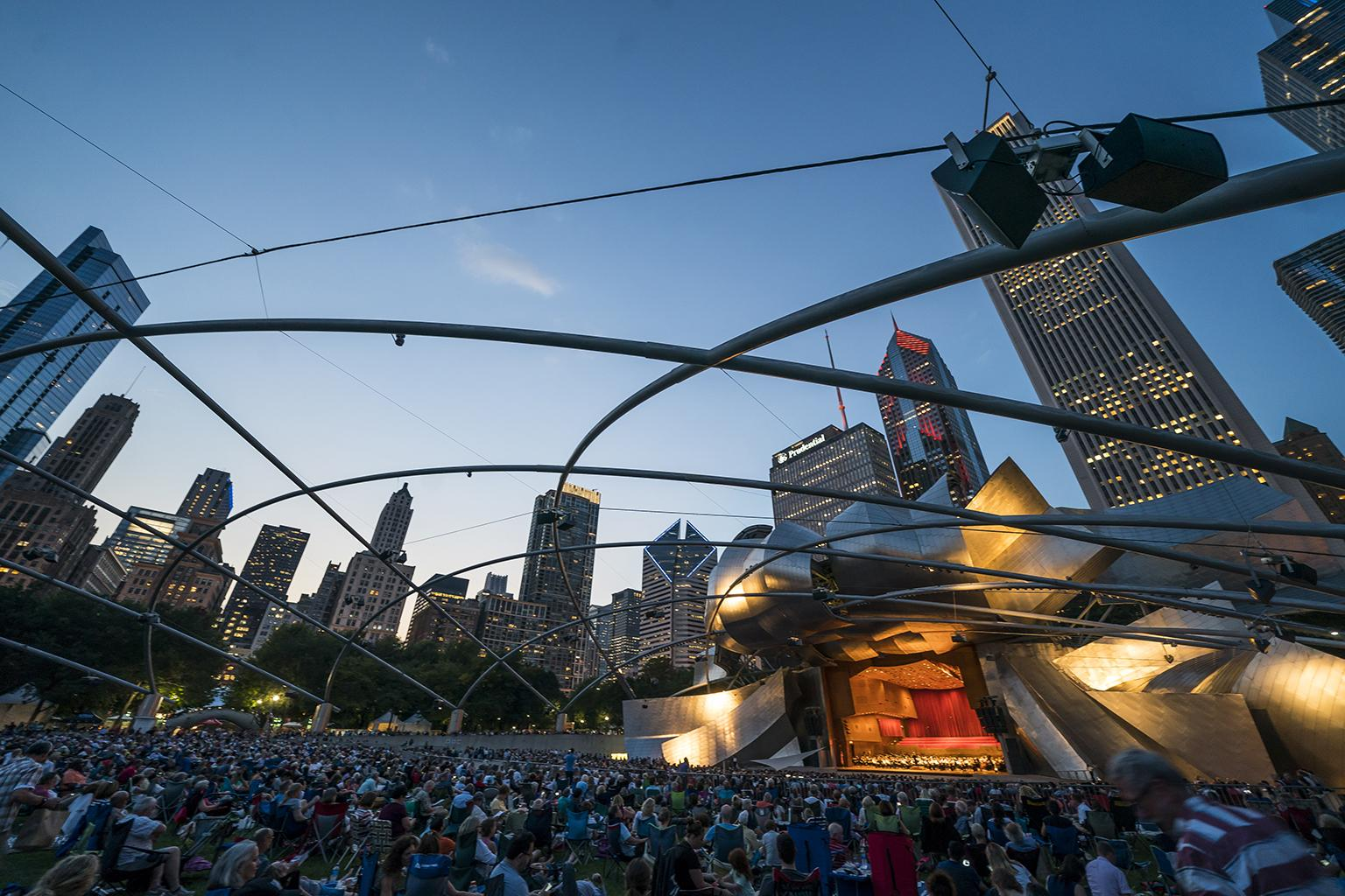 "The Chicago Symphony Orchestra and Civic Orchestra of Chicago, led by Zell Music Director Riccardo Muti, performed a free ""Concert for Chicago"" at the Jay Pritzker Pavilion in Millennium Park on Sept. 20, 2018. (Photo Credit: Todd Rosenberg)"