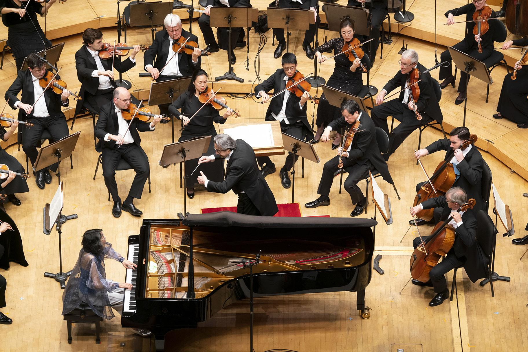 Zell Music Director Riccardo Muti leads the CSO in a performance of Mozart's Piano Concerto No. 20 with Mitsuko Uchida as soloist. (Photo credit: Todd Rosenberg)
