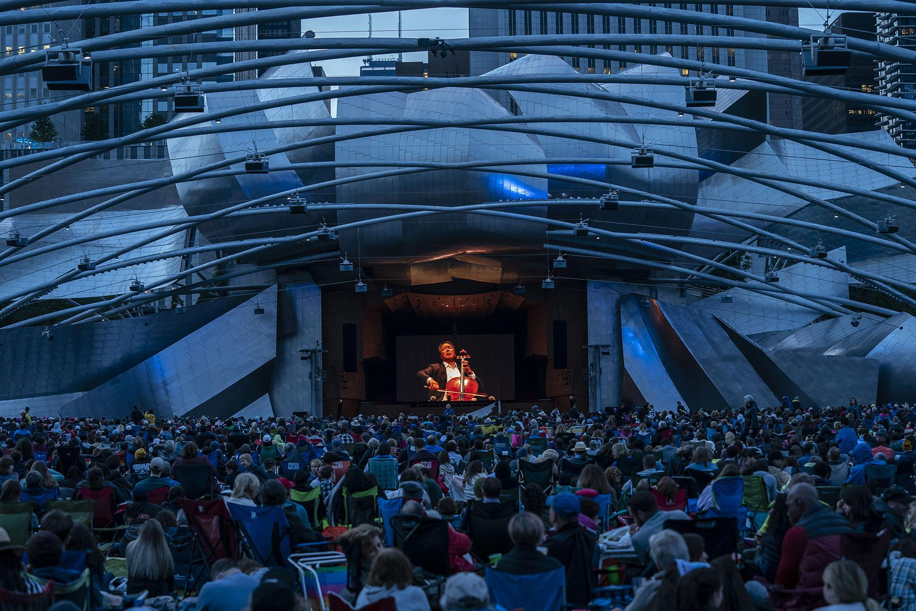 Yo-Yo Ma performs at Jay Pritzker Pavilion in Millennium Park as part of his 36-concert Bach Project on June 20, 2019. (Credit: Todd Rosenberg)